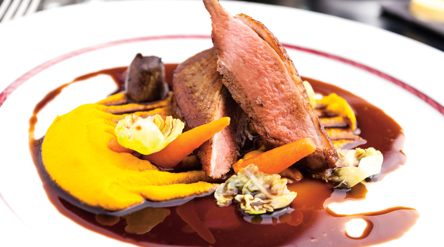Duck breast fillet with orange and dark chocolate
